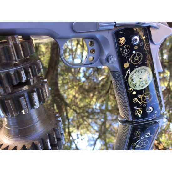 Custom 1911 grips - Vintage Watch Parts with a black background - Steampunk 1911 grips