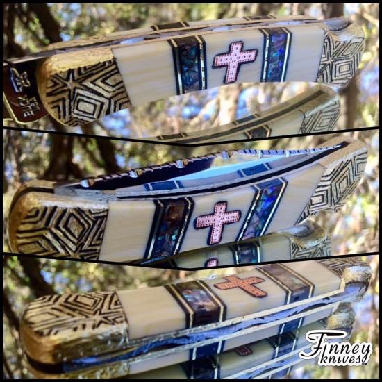 Custom Buck 110 with Copper Cross Inlay - Jesus is Lord by Garett Finney