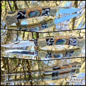 Custom Buck 110 Yellowhorse Tribute by Garett Finney - Coyote Teeth - leopard skin jasper