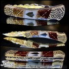 Buck 110  with genuine Native American Arrowheads inlaid with Red Stone Gold Web Prototype