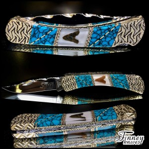 Buck 110  with genuine Native American Arrowheads inlaid with turquoise web