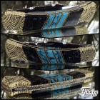 Custom Buck 110 Persian Turquoise and Black with white web with aztec engraving prototype
