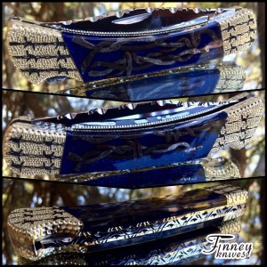 Custom Buck 110 Antique barbed wire with blue background prototype