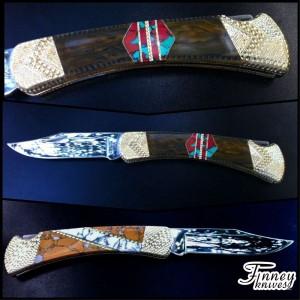 Custom Buck 110 with tiger eye - Sonoran Sunset - wildhorse jasper - white turquoise