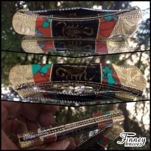 Custom Buck 110 with Real Scorpion in the handle and Sonora Sunset Inlay