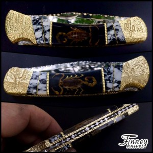 Custom Buck 110 with Real Scorpions and Dalmation Inlay by Garett Finney