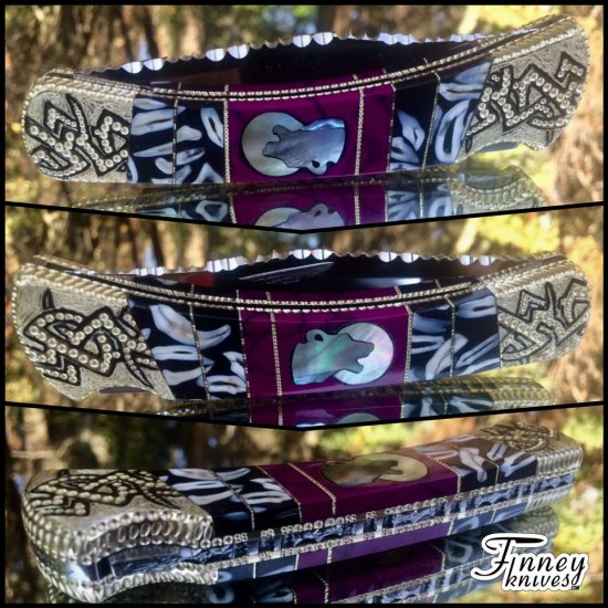 Custom Buck 110 with Real Coyote Teeth and wolf with moon