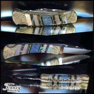 Custom Buck 110 with fossil coral - mother of pearl and abalone prototype