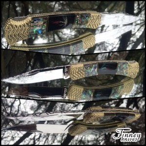 Custom Buck 110 Genuine Fly Fishing Flies and Genuine Abalone Inlay Prototype