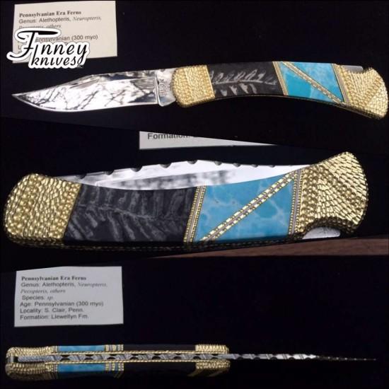 Custom Buck 110 with Genuine Fossil Fern and Larimar inlay