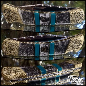 Custom Buck 110 with Genuine Meteorites and Banded Chrysocolla inlay
