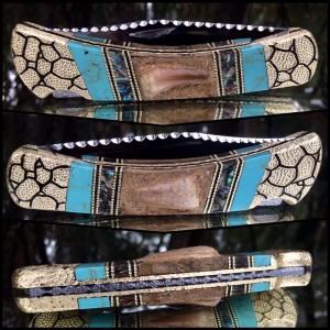 Custom Buck 110 with Genuine Mosasaur Teeth - Abalone - Turquoise inlay