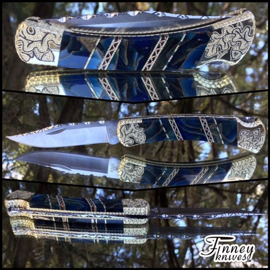 Custom Buck 110 Genuine Evergreen Oak Leaves Cast in Blue with Gold Highlights