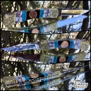 Custom Buck 110 with genuine wheat pennies inlaid with turquoise and white stone copper matrix prototype