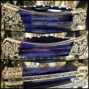 Custom Buck 110 with genuine stabilized blue sea urchin spines cast in deep purple prototype