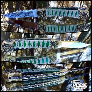 Custom Buck 110 with genuine thresher shark spine cast in electric green prototype