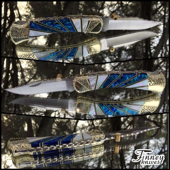 Buck 110 -  Starburst - mother of pearl and blue alvs abalone prototype