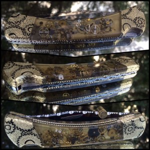 Custom Buck 110 Steampunk with real watch parts in the handle