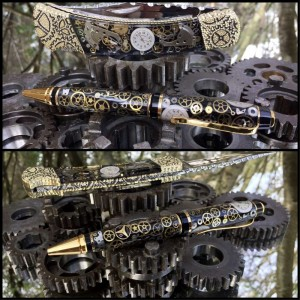 Custom Buck 110 knife and pen set Vintage Watch Parts Steampunk