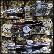 Custom buck 110 steampunk knife - watch parts #2