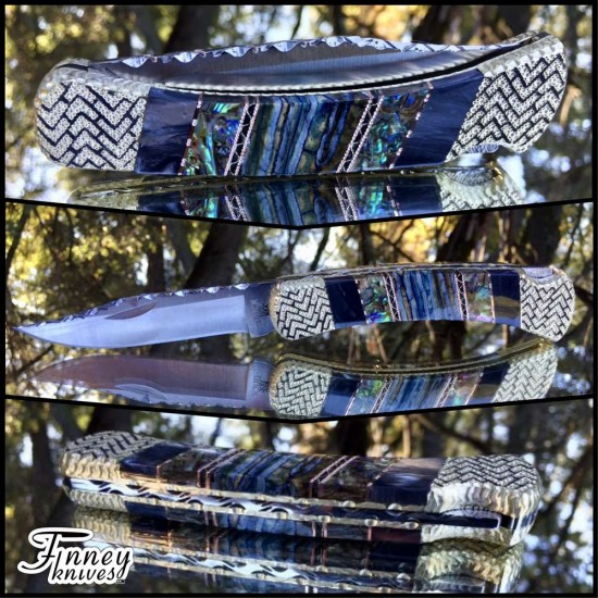 Custom Buck 110 Mammoth tooth - Abalone - recon black pearl prototype