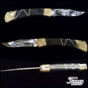 Custom Buck 110 with Genuine Trilobite Fossils from Utah with Fossil Coral inlay