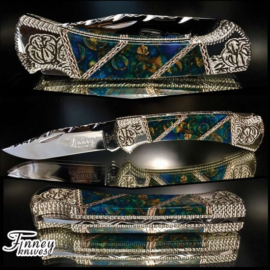 Custom Silver Buck 112 with crape myrtle blooms in electric blue and gold