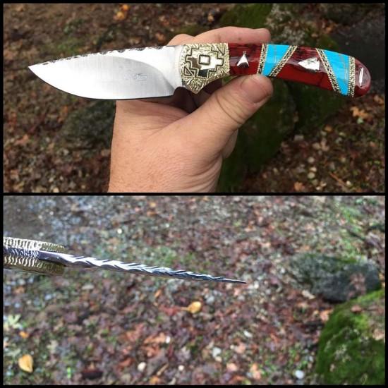 Custom Buck 113 Ranger Skinner with Turquoise and bloody basin jasper 1 of 1