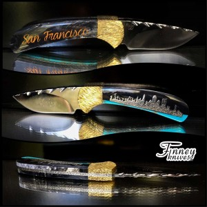 Custom Buck 113 Ranger Skinner with San Francisco cityscape