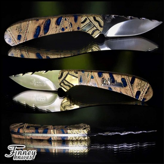 Custom Buck 113 Ranger Skinner with Cholla Cactus Silver inlay Mod 1