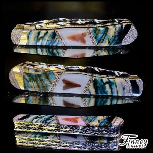 Case xx Trapper with genuine neolithic arrowheads from Africa inlaid with mammoth tooth 1 of 1