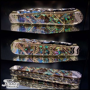 Case xx Trapper abalone and opal inlaid with brass and copper spacers 1 of 1