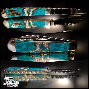 Case xx trapper Wharncliffe with chrysocolla and crushed oyster shell 1 of 1