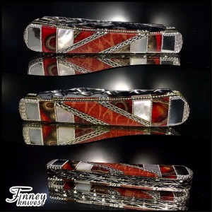 Case xx trapper with genuine apple coral and pearl inlaid with Texas ebony pods in candy red 1 of 1