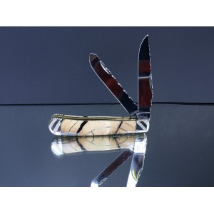 Custom Case XX Trapper with lighter color cross cut mammoth ivory