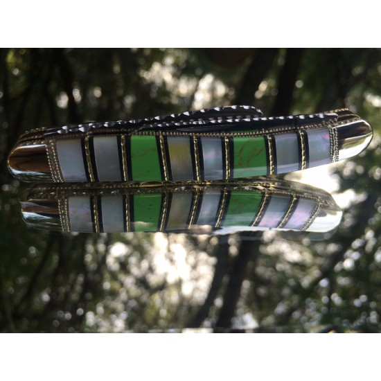Custom Barracuda-USA Stockman with Mother of Pearl and Green Gaspite