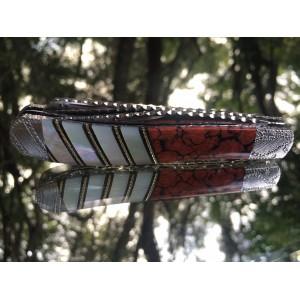 Custom Saddlehorn - Beaver Creek - Mother of Pearl and Red Dino Bone