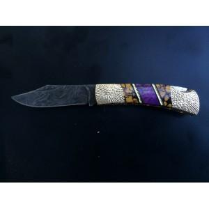 Custom Damascus Lockback with purple mohave - Yellow Dino Bone - white stone