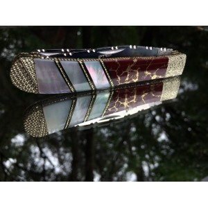 Custom Steel Warrior Trapper with Mother of Pearl and Red - Gold Stone