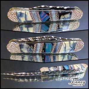 Finney Vault - Case XX Copperhead - pastel opal matrix - blue cross cut mammoth ivory - giraffe bone