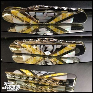 Finney Vault - Case XX Copperhead with chipped pearl matrix - pearl - and yellow fossil coral 1 of 1