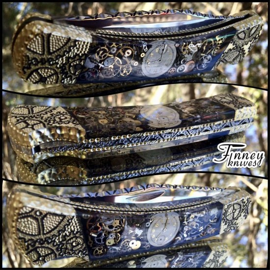 Finney Vault - Custom Buck 110 Black Background Vintage Watch Parts Steampunk knife