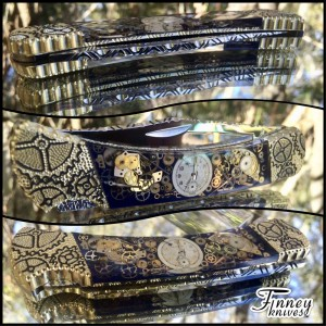 Finney Vault - Custom Buck 110 Navy Blue Background Vintage Watch Parts Steampunk knife