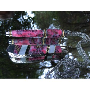 Finney Vault - Custom Case XX mini Trapper with alder cones cast in strawberry swirl with matching pen necklace prototype