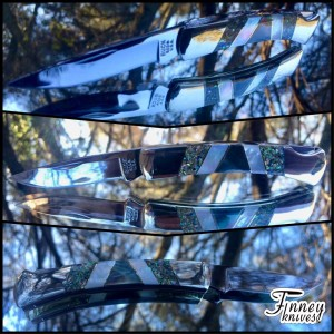 Custom Buck 503 Prince with Black and white mother of pearl inlaid with crushed abalone