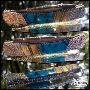 Custom Buck 503 Prince with Turquoise Web and Gold Lip Pearl