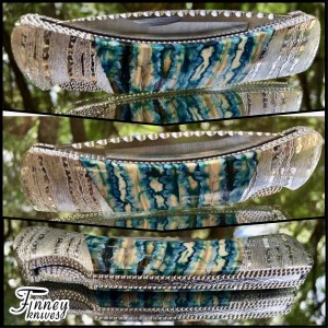 Custom Buck Duke 500 with deep aqua green Mammoth Tooth and Engraved Bolsters