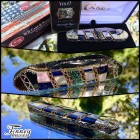 Case xx Canoe with crape myrtle blooms in electric blue inlaid with mother of pearl Prototype. Run of 10