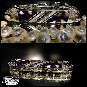 Case XX - Canoe with spiral sea shells in electric purple inlaid with pearl 1 of 1