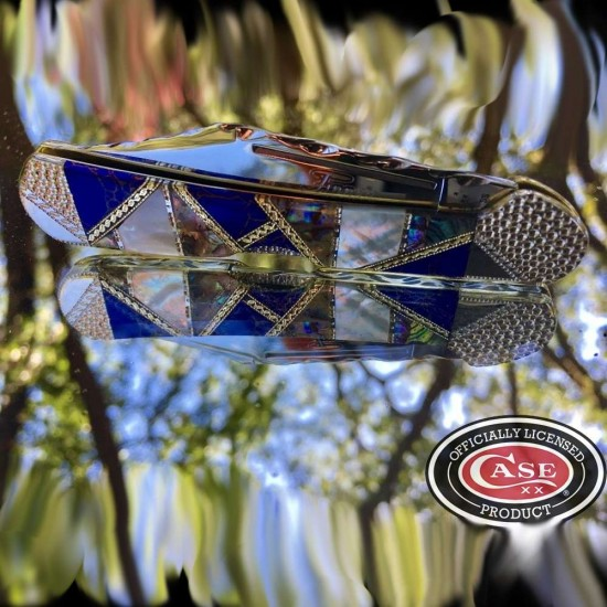 Case xx mini copperlock with azurite web, abalone and mother of pearl 1 of 1
